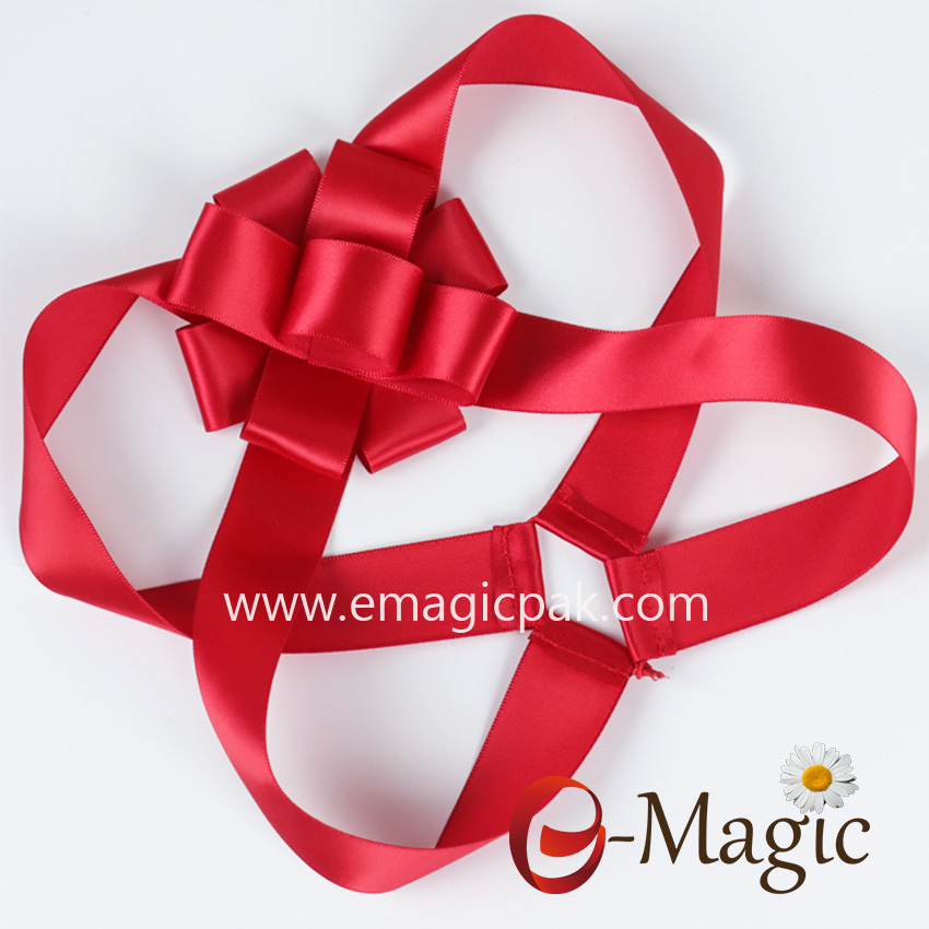 PB-097    Red Pre-tie packing ribbon bow for christmas gift decoration