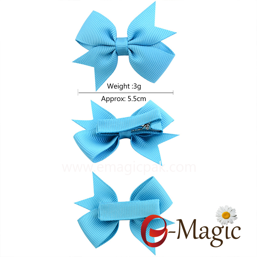 HB042 Customized Baby Color Ribbon hair bow with clip