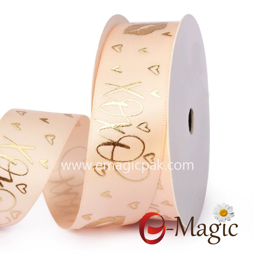 Valentines-24  High quality Polyester custom made printed Valentines ribbon