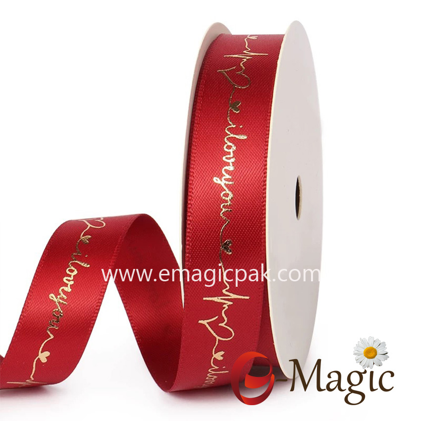 Valentines-23  Support Custom Valentine Wedding Print Polyester Satin Ribbon