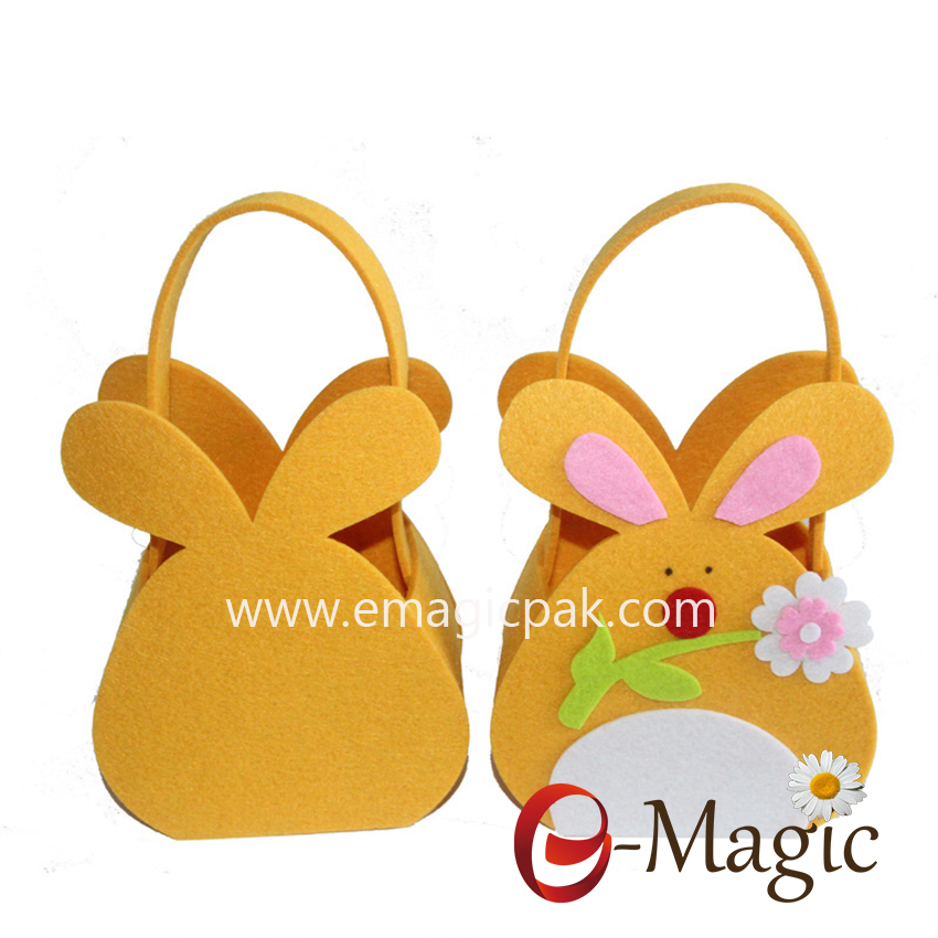 FC-02  Bunny Designs felt easter candy gift bag Felt easter egg basket with handle