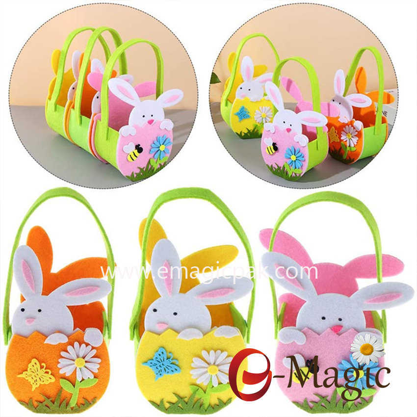 FC-01  Easter Party Decoration Bunny Cookie Bag New Gift storage Bags felt easter Rabbit Candy Bag basket