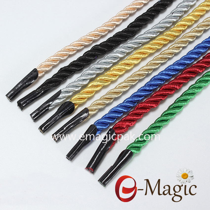 HR-001 Factory wholesale 5mm custom color polyester /cotton hand rope with plastic barb end paper bag rope handle